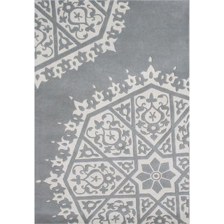 ZnZ Rugs Gallery Hand Made Grey New Zealand Blended Wool Rug (8' x 10')