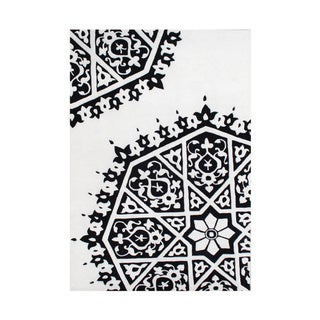 ZnZ Rug Gallery Hand Made Creamy White New Zealand Blend Wool Rug (8' x 10')