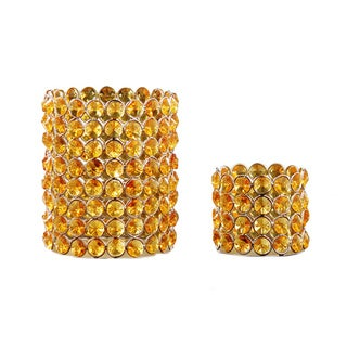Yellow Crystal Beaded Tea-light Votive Set (Set of 2)