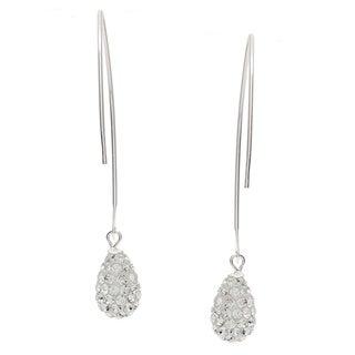 Sunstone Sterling Silver Pave Crystal Teardrop Dangle Earrings