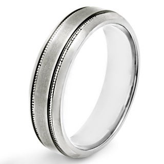 Titanium Brushed Milgrain Band Ring