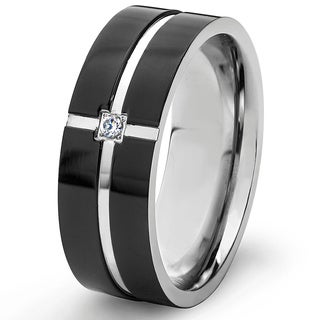 Crucible Blackplated Stainless Steel Cubic Zirconia Grooved Band