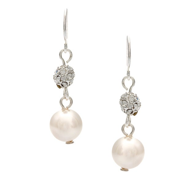 Roman Silver Faux Cream Pearl Pave Fireball Crystal Dangle Earrings