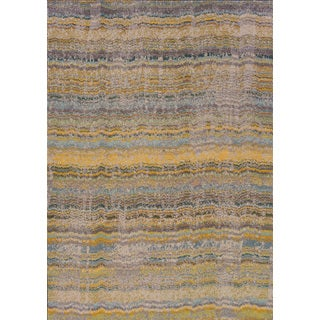 Distressed Ikat Yellow/ Grey Rug (6'7 x 9'1)