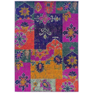 Bright Patchwork Multi/ Pink Polypropylene Rug (9'9 x 12'2)