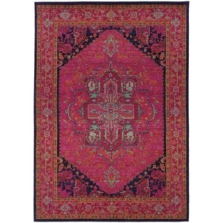 Updated Traditional Pink/ Blue Rug (5'3 x 7'6)
