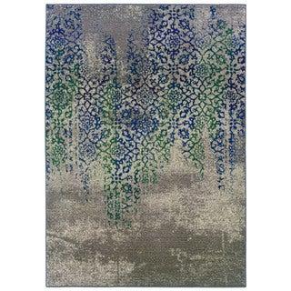 Distressed Motif Grey/ Blue Rug (9'9 x 12'2)