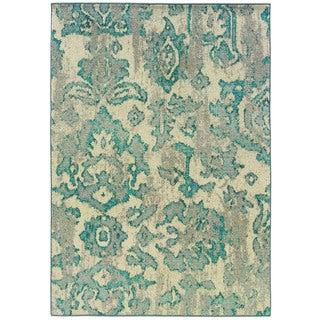 Distressed Floral Ivory/ Blue Rug (5'3 x 7'6)