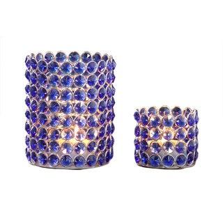 Blue Crystal Beaded Tealight Set