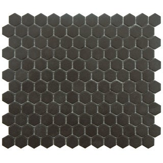 SomerTile 'Manhattan Hex Antique Black' 10.25x12-inch Unglazed Porcelain Mosaic Tiles (Pack of 10)