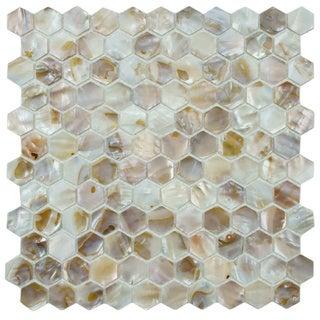 SomerTile 'Seashell Hexagon Natural' 12x12-inch Mosaic Tiles (Pack of 10)