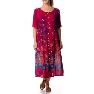 La Cera Women's Plus Border Print Long Pleated Dress