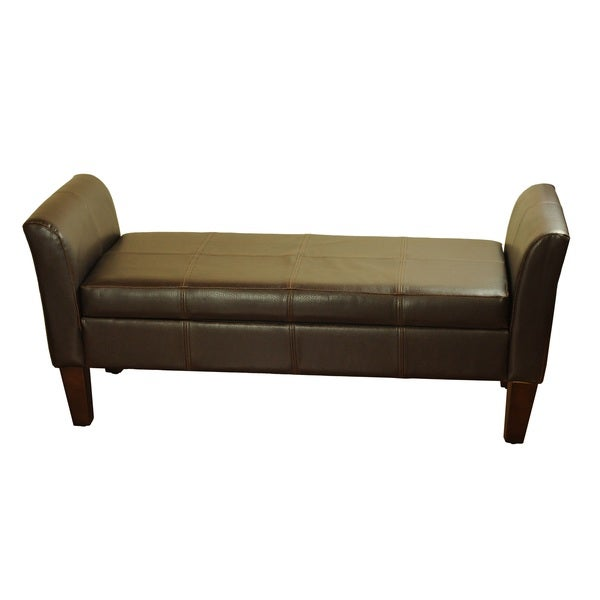 Leather Storage Bench With Arms Overstock Shopping Great Deals On Homepop Benches