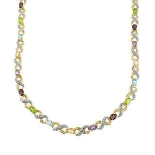 Pretty Plus Two-tone Multi-gemstone and Diamond Accent 'XO' Necklace