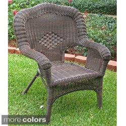 International Caravan Camelback Resin Wicker Patio Chairs (Set of 2)