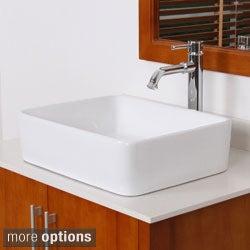 Elite 9924 High-temperature Rectangular Square Ceramic Bathroom Sink and Faucet Combo