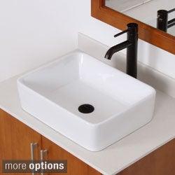 ELITE 9924F371023 High-temperature Rectangular Ceramic Bathroom Sink and Faucet Combo