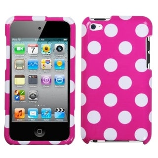 INSTEN White Polka Dots/ Hot Pink iPod Case Cover for Apple iPod Touch 4
