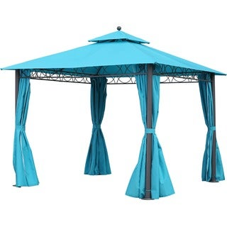 International Caravan St. Kitts 10-foot Canopy Double-vented and Drapes Square Gazebo