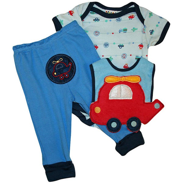 Dulce Baby Infant Boy's Red Helicopter 3-piece Bib Set