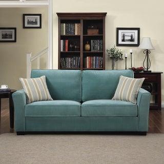 Portfolio Tara Turquoise Blue Velvet Sofa with Summer Blue Stripe Accent Pillows