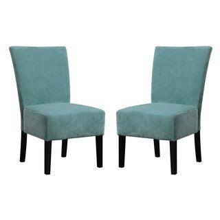 Portfolio Duet Emma Turquoise Blue Velvet Upholstered Armless Chair (Set of 2)
