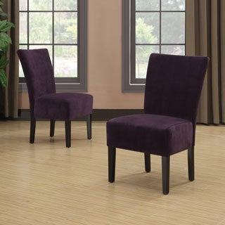 Portfolio Duet Emma Purple Velvet Upholstered Armless Chair (Set of 2)