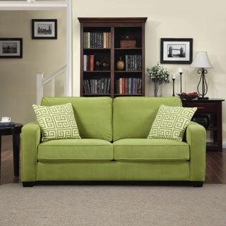 Portfolio Madi Spring Green Velvet Sofa with Apple Green Greek Key Accent Pillows