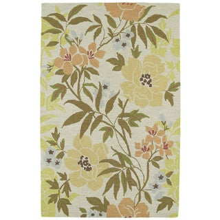 Retreat Oatmeal Floral Hand Tufted Rug (7'6 x 9'0)
