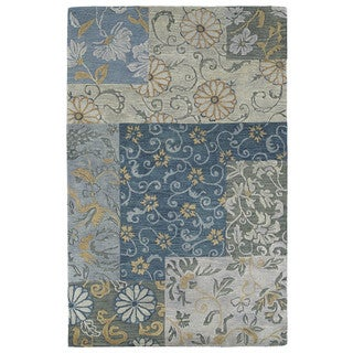 Euphoria Patchwork Blue Tufted Wool Rug (9'6 x 13'0)