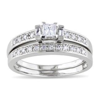 Miadora Sterling Silver 1/3ct TDW Diamond Bridal Ring Set (H-I, I2-I3)