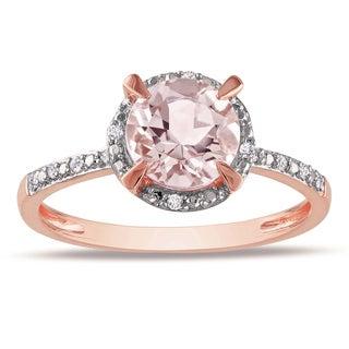 Miadora 10k Rose Gold 1ct Morganite and Diamond Halo Ring (G-H, I1-I2)
