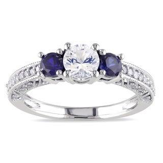 Miadora 10k White Gold Created Sapphire and 1/6ct TDW Diamond 3-Stone Ring (G-H, I2-I3)