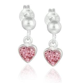 Mondevio Sterling Silver Pink Crystal Heart Dangling Children's Earrings