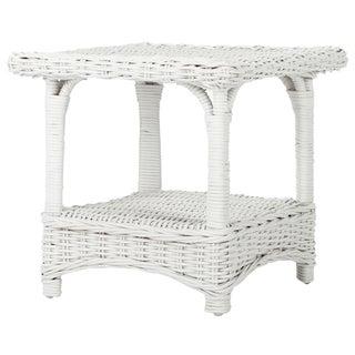 Safavieh Bowen White Rattan Side Table