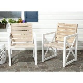 Safavieh Irina White Frame/ Oak Seat Arm Chairs (Set of 2)