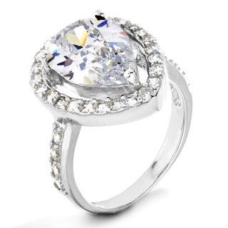 ELYA Sterling Silver White Pear-cut Cubic Zirconia Halo Ring