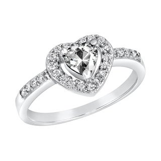 ELYA Sterling Silver Clear Heart-cut Cubic Zirconia Double Halo Ring