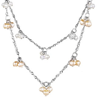 ELYA Stainless Steel Freshwater Pearl Cluster Necklace (4-5 mm)