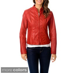 Hawke & Co Women's Leatherette Side Rouched Jacket