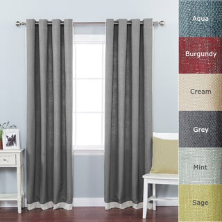 Lights Out Faux Linen Grommet Top Border Detail 84-inch Curtain Panel Pair