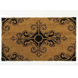 Rubber-Cal 'Traditional Fleur-de-Lis French Mat' Coir Outdoor Mat (18 x 30)