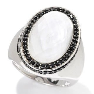 Sterling Silver 7ct TGW Oval White Quartz Cabochon and Black Spinel Ring