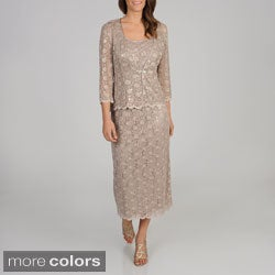 R & M Richards Women's Petite 2-piece Lace Jacket and Long Dress