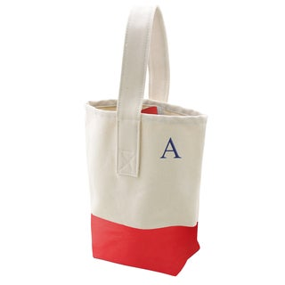 Personalized Red Color Dipped Canvas Wine Tote