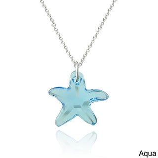 Crystal Ice Sterling Silver Starfish Crystal Necklace