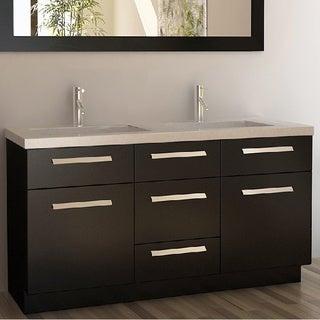 Moscony Espresso 60-inch Double Sink Vanity Set