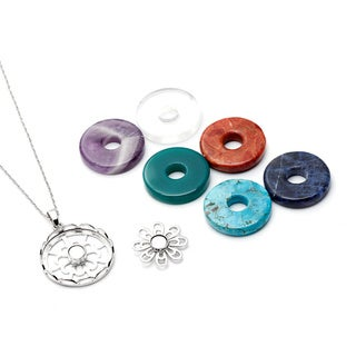Silvermoon Sterling Silver Interchangeable Gemstone Flower Necklace