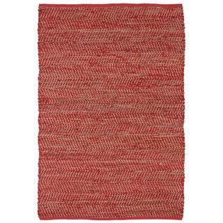 Hand-woven Red Jeans Denim/ Hemp Rug (8' x 10')