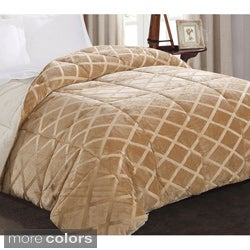 Embossed Mink to Faux-Fur Reversible Down Alternative Comforter